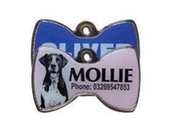 Full Colour Bowtie Shaped Pet Tags